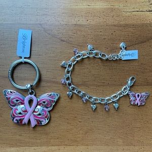 NWT💋 Breast Cancer Charm Bracelet Keyring Set